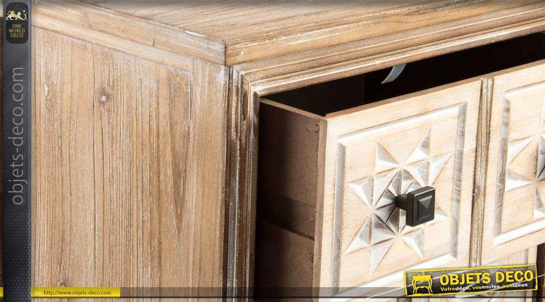 armoire d 39 appoint en bois vieilli avec porte et tiroir. Black Bedroom Furniture Sets. Home Design Ideas