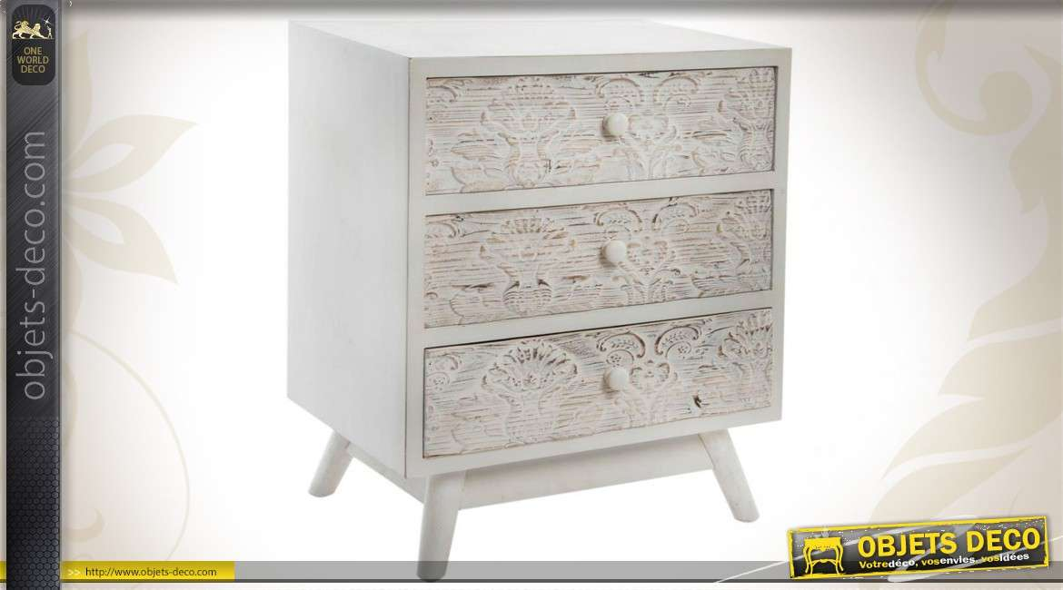 buffet commode blanc 1 tiroir et 2 portes style bord de mer. Black Bedroom Furniture Sets. Home Design Ideas