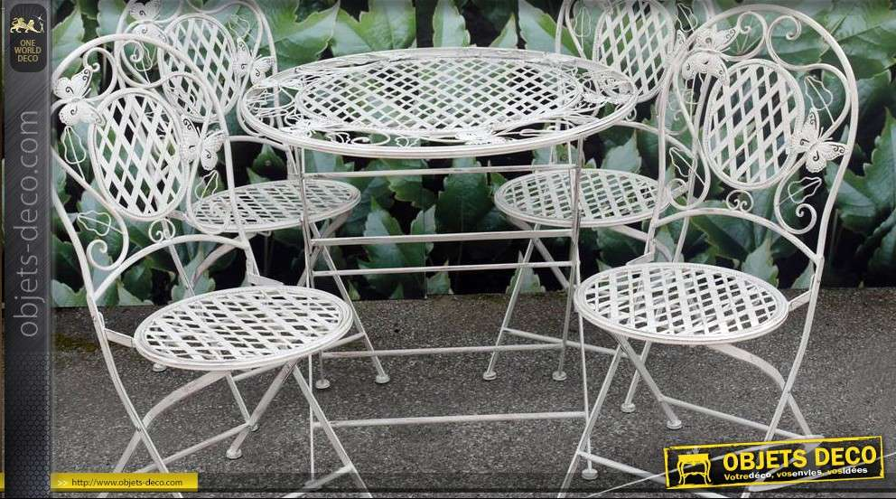 Salon de jardin en fer forg 1 table et 4 chaises for Salon fer forge catalogue