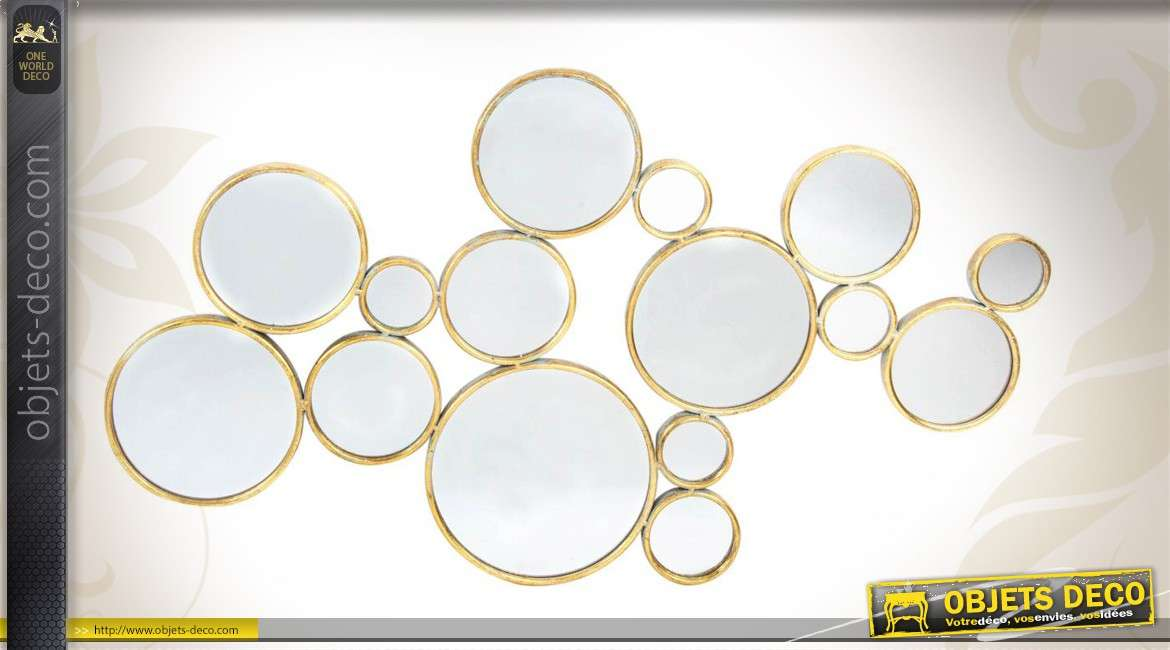 Miroir art d co composition murale cercles ronds patine for Deco miroir rond