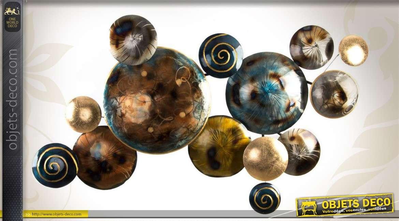 Déco murale contemporaine cercles convexes et métallisés