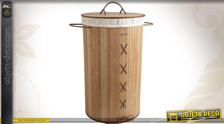 Panier à linge sale en bambou avec doublure coton