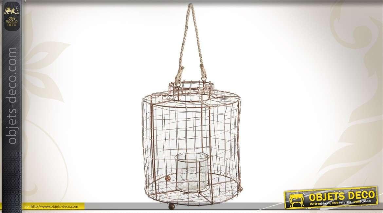 Lanterne cage en métal finition cuivrée et en verre