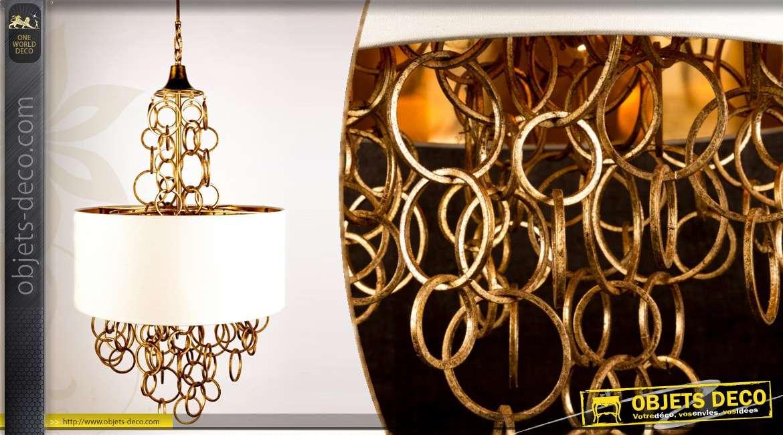 suspension design cascade d 39 anneaux avec abat jour. Black Bedroom Furniture Sets. Home Design Ideas