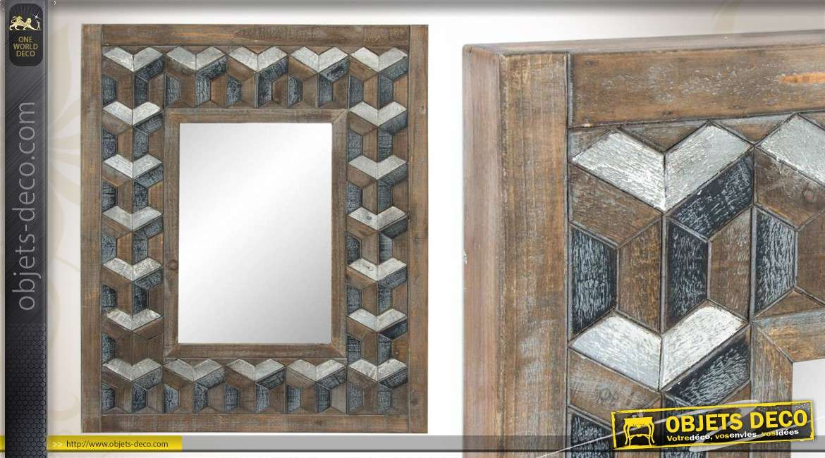cheap miroir mural en bois vieilli effet d with miroir. Black Bedroom Furniture Sets. Home Design Ideas