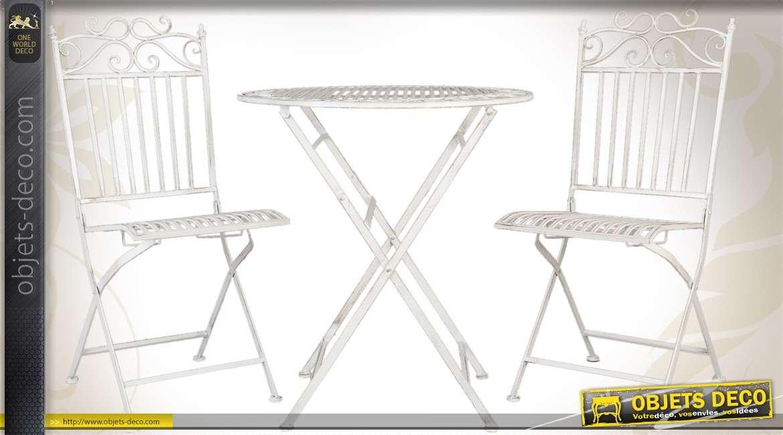 Salon de jardin avec table ronde et 2 chaises, patinées ...