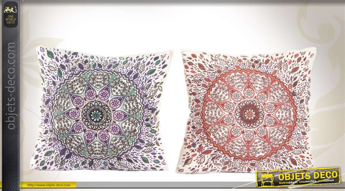 2 coussins d coratifs en tissu motifs mandalas. Black Bedroom Furniture Sets. Home Design Ideas