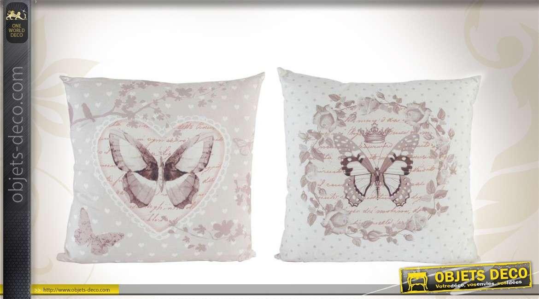 s rie de 2 coussins d coratifs en tissu motifs papillons. Black Bedroom Furniture Sets. Home Design Ideas