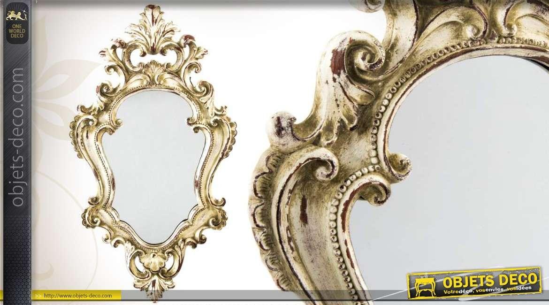 Miroir mural rond patin vieu dor motifs fleurs de lys for Miroir a l ancienne