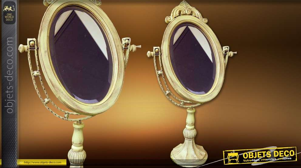 grand miroir de coiffeuse sur pied chevalet baroque. Black Bedroom Furniture Sets. Home Design Ideas