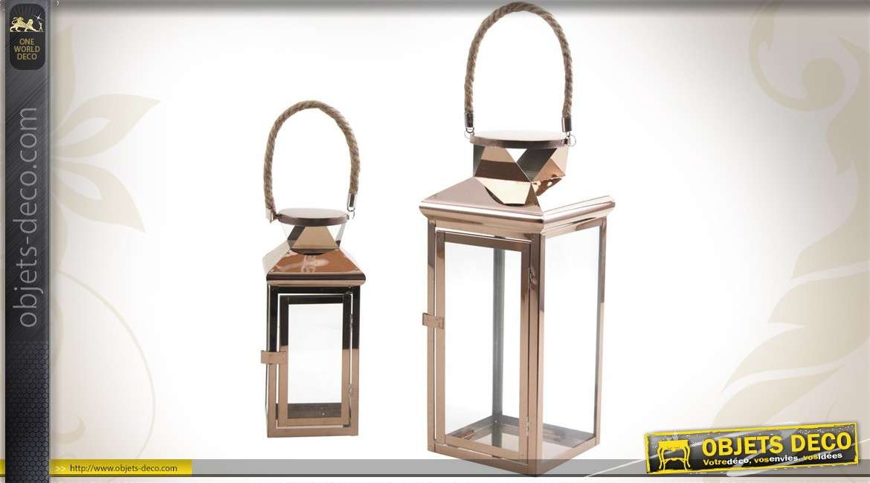 2 lanternes en métal cuivré et en verre