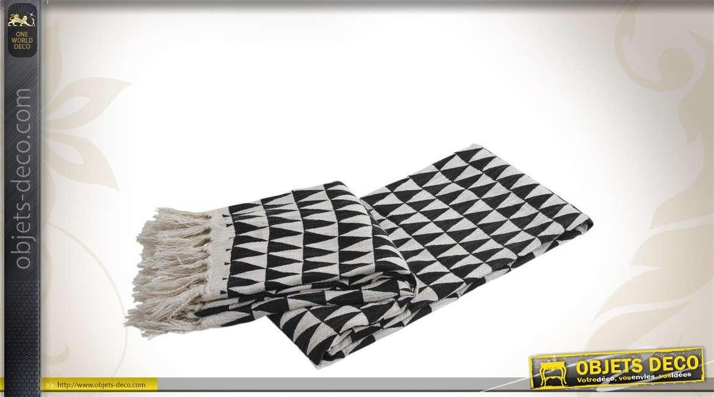 Plaid bicolore motifs géométriques en coton