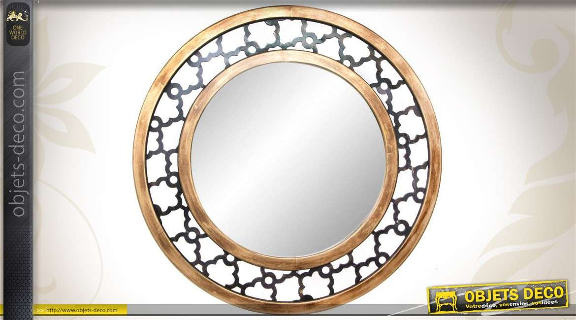 miroir mural rond de style ethnique. Black Bedroom Furniture Sets. Home Design Ideas