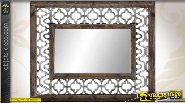 Miroir rectangulaire blanc range bijoux en bois for Miroir ethnique