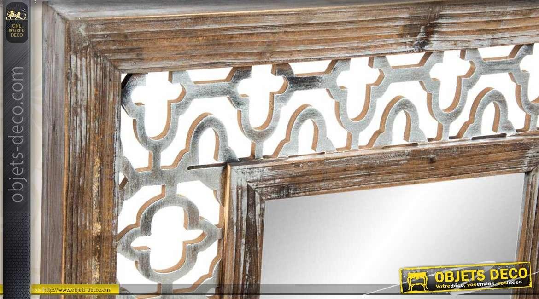 Miroir mural de style ethnique en bois vieilli for Miroir ethnique