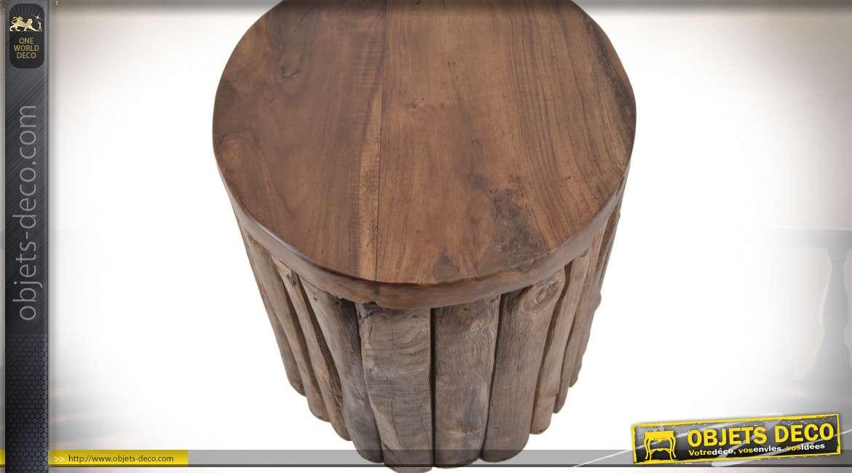 Tabouret en teck avec habillage en lames verticales 45 cm