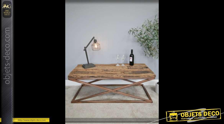Table basse design indus avec plateau en traverses recyclées 120 cm