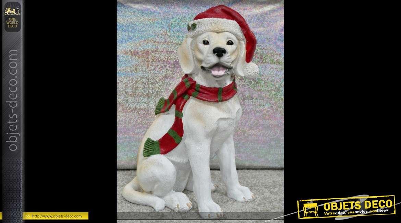 Statuette de chien déclinée sur le thème de Noël 33 cm