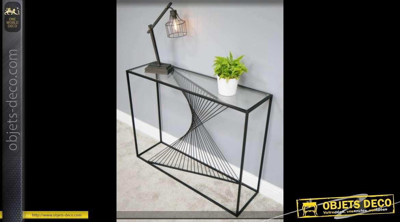 Console design noire en métal effet géométrique