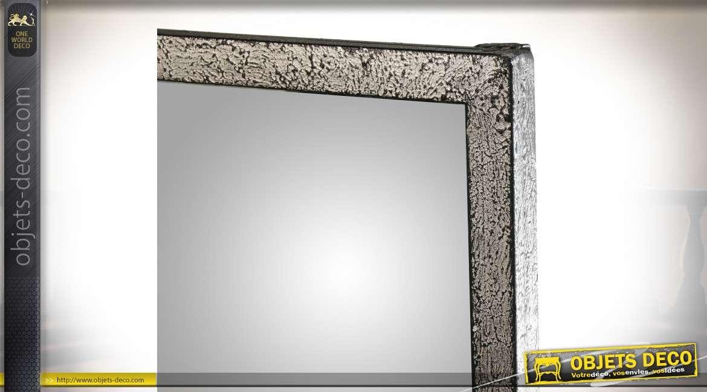 Miroir-fenêtre de style industriel en métal vieilli et noirci 120 cm