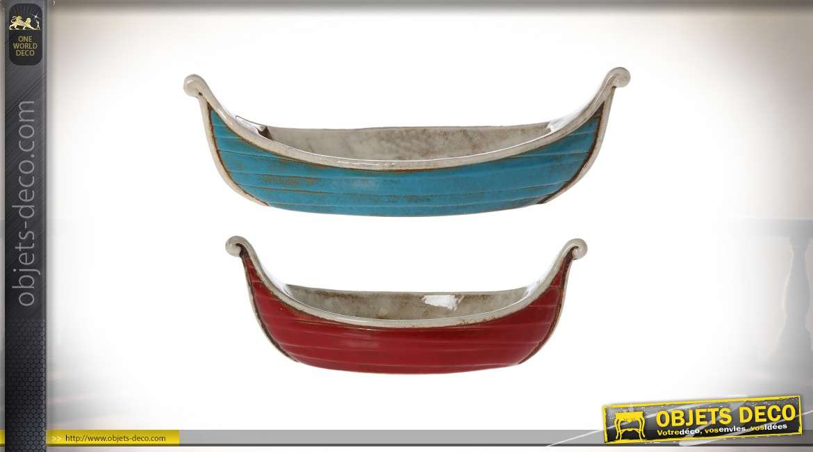 Set de deux plats centre de table en céramique en forme de barques 45 cm