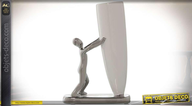 Vase en céramique blanche avec personnage stylisé argenté 22 cm