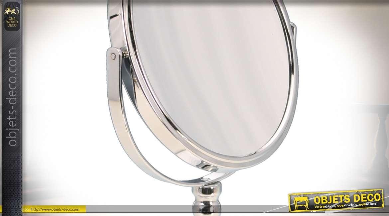 Miroir cosmétique chromé de style rétro avec glace grossissante X7