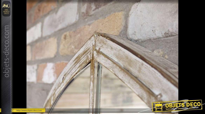 Miroir en métal en forme de fenêtre gothique patine métal blanchi 159 cm