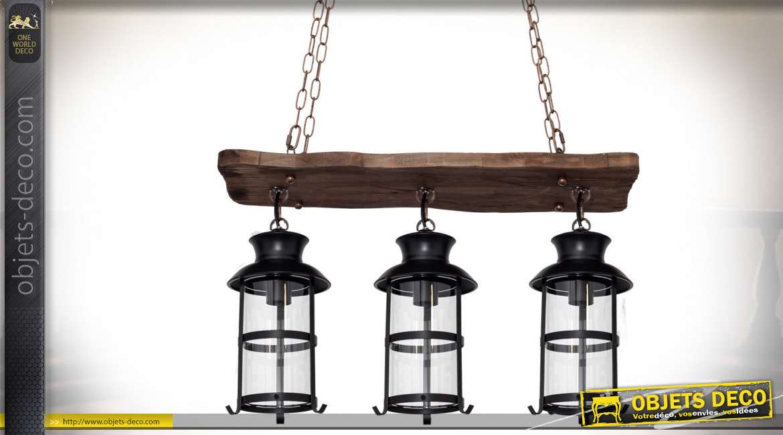 Suspension rustique en bois et métal avec trois lanterne d'éclairage 64 cm