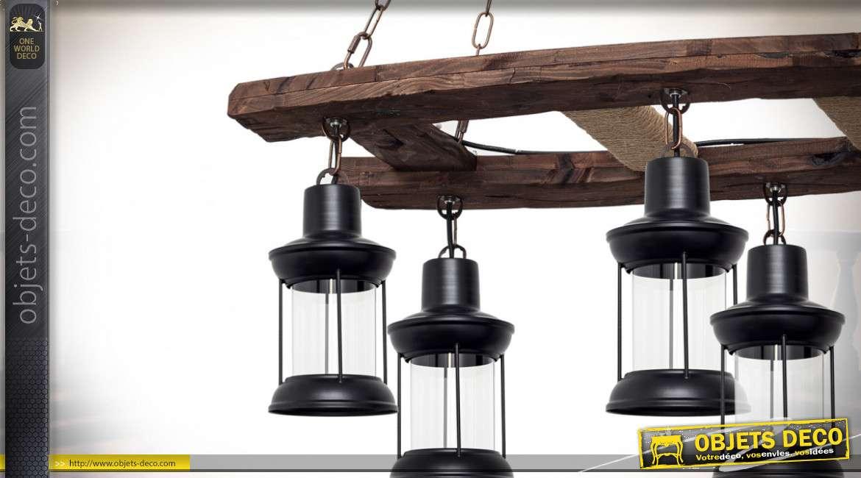 Lustre/suspension de style rustique avec six lanternes suspendues 132 cm
