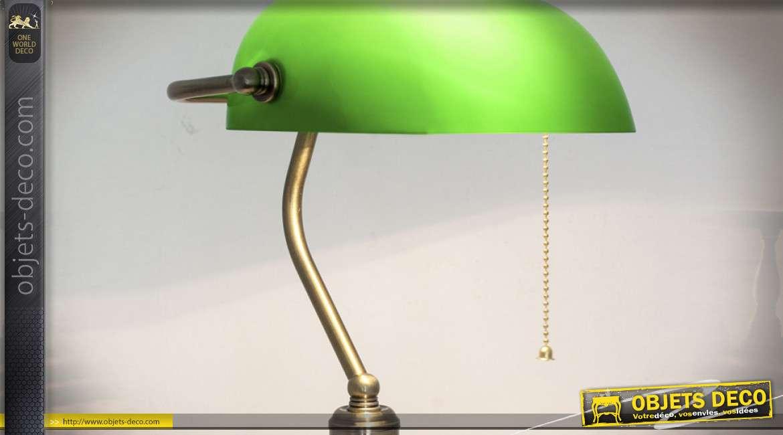 Lampe de bureau esprit banquier avec opaline verte et chaînette, de style rétro, 37cm