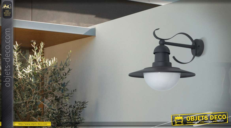 Lanterne extérieur métal et fer forgé style rétro gris anthracite 34 cm