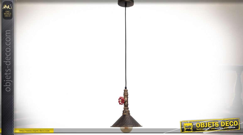 Suspension industrielle effet tuyauterie et vanne industrielles doré cuivré et noir 27 cm