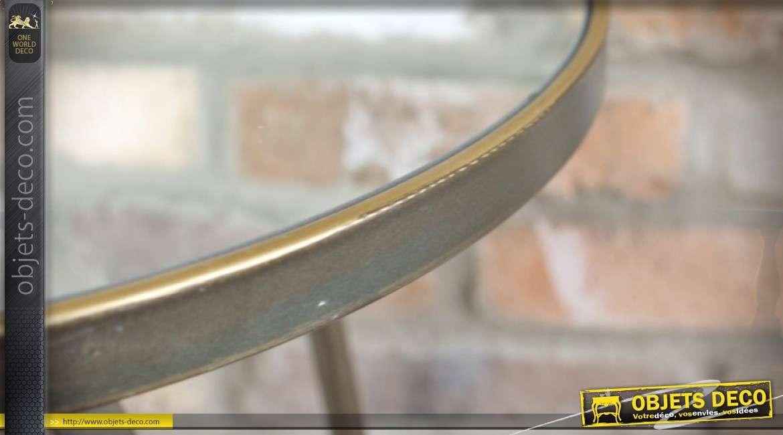 Bout de canapé style industriel avec plateau circulaire en miroir Ø 42 cm