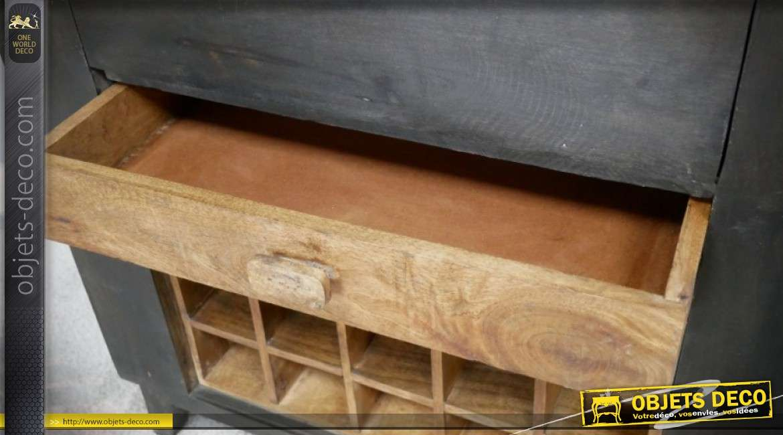 Meuble bar avec casier à bouteilles finition gris ardoise et bois naturel vieilli