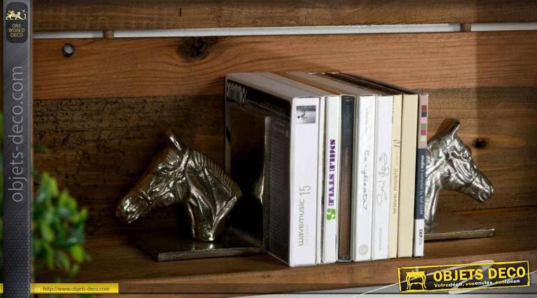 Serre-livres en aluminum têtes de chevaux argentés