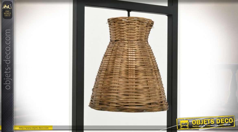 Lampe en forme de colonne verticale avec 4 abat-jours en bambou naturel tressé 135 cm