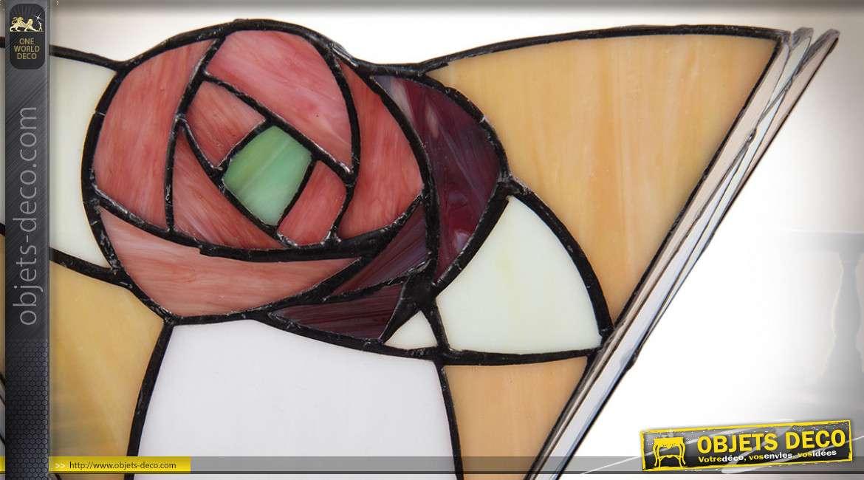 Applique murale de style Tiffany avec motif stylisé de rose 30 cm