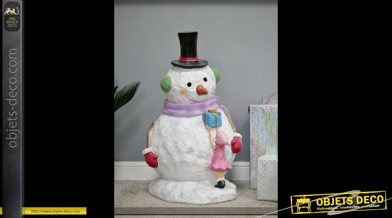 Grand bonhomme de neige décoratif de Noël 80 cm