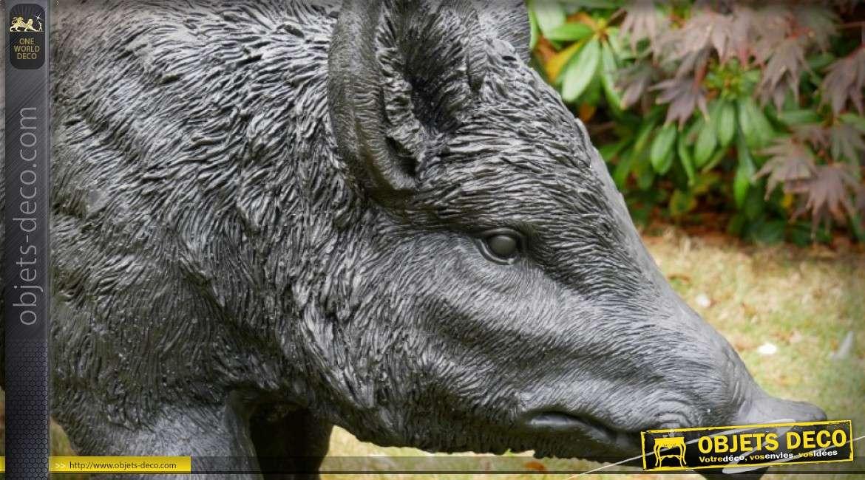 Grande sculpture animalière de sanglier (1 mètre)