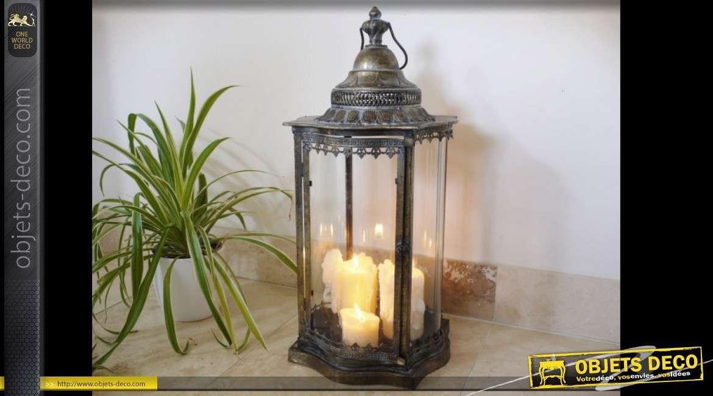 Lanterne rétro métal patiné bronze doré avec 4 faces vitrées convexes 70 cm