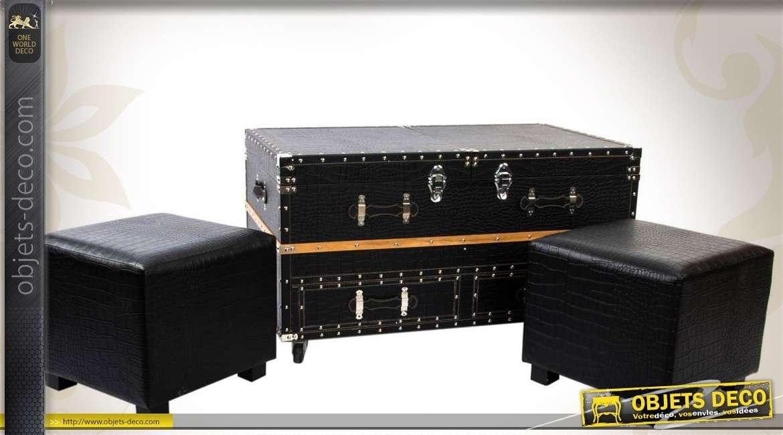 Ensemble table basse et poufs en bois et simili noir for Table basse noir et bois