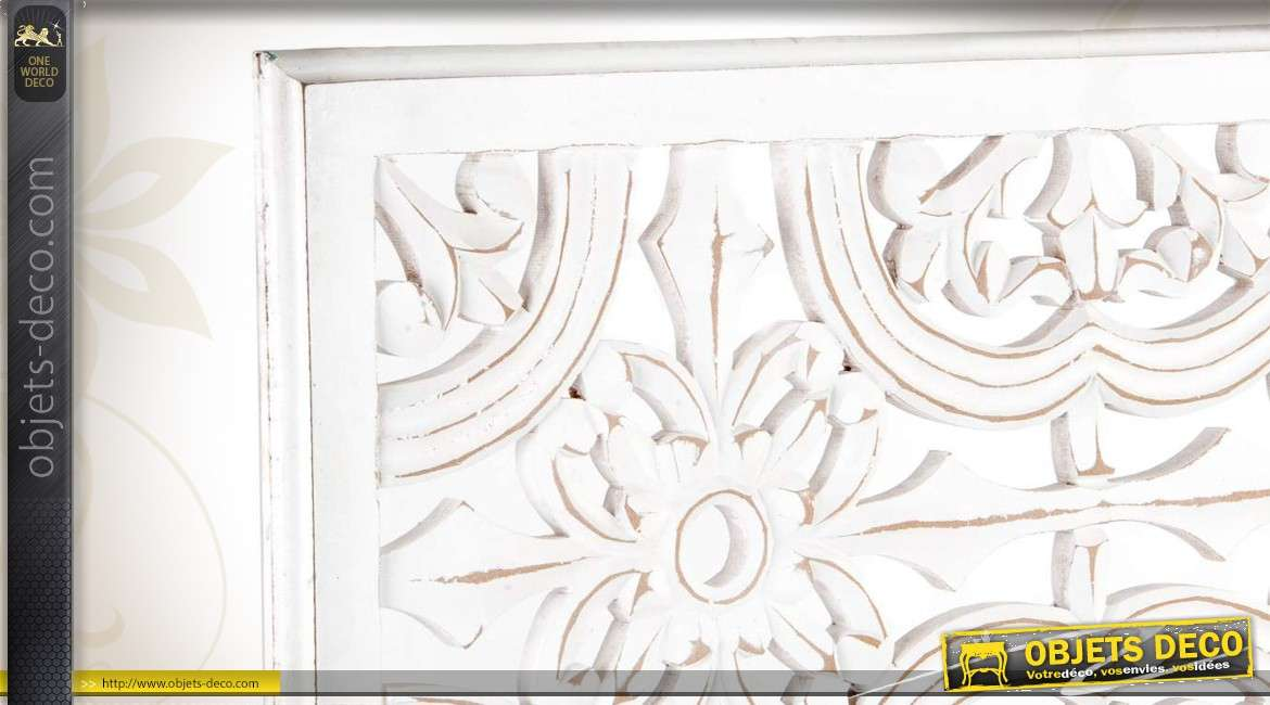 D coration murale florale patin e coloris blanc for Decoration murale vannerie