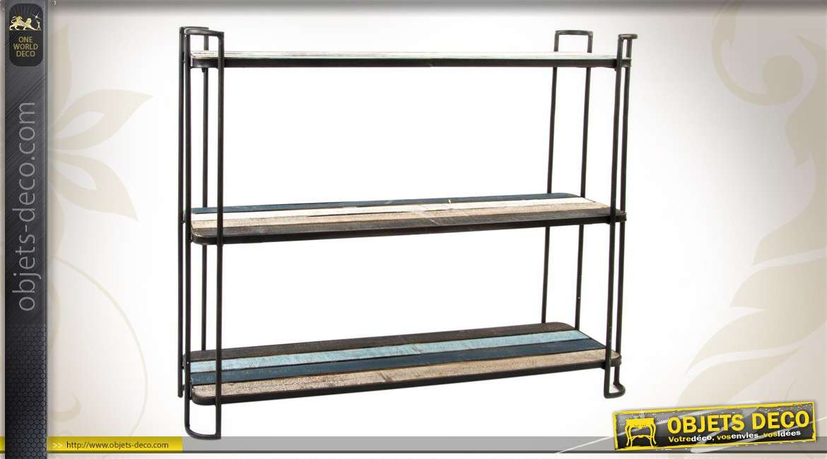 Etag re de style industriel en m tal noir for Etagere bois industriel