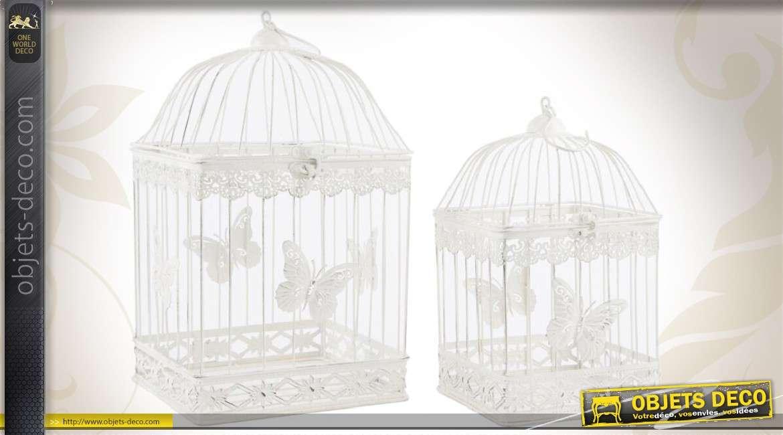 Série de 2 cages à oiseaux de style romantique coloris blanc