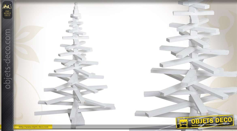 Sapin de Noël blanc en bois