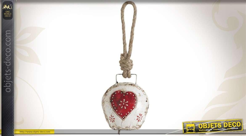 Cloche décorative en métal coloris divers et vieillis