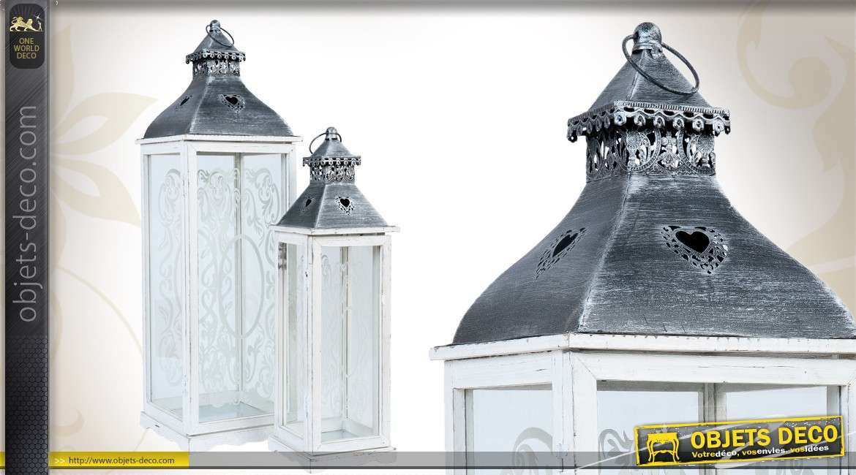 Série de 2 lanternes décoratives de style shabby chic