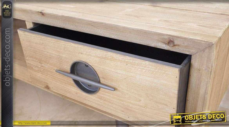 Meuble tv en bois finition naturelle de style indus vintage for Finition de meuble en bois