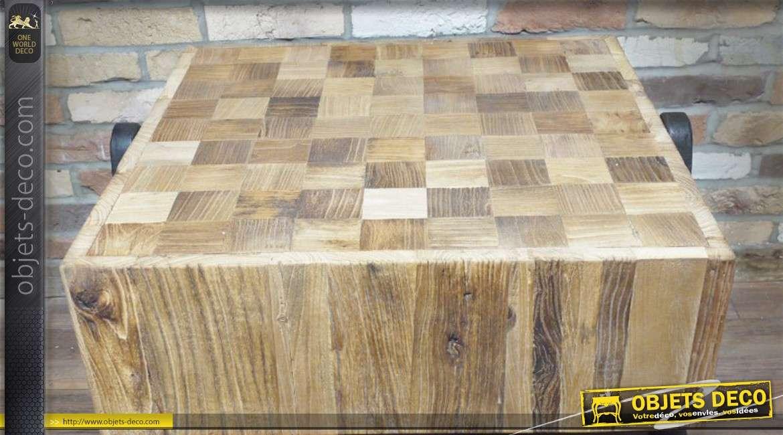 Table basse de style industriel en bois et en m tal vieilli - Table basse bois vieilli ...